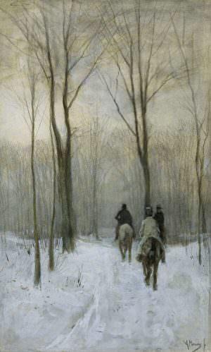 Anton Mauve, Reiter im Schnee im Haager Wald, 1879/80, Aquarell mit weißer Gouache gehöht, und Bleistift oder schwarze Kreide, 44,2 x 26,9 cm (Rijksmuseum, Amsterdam)