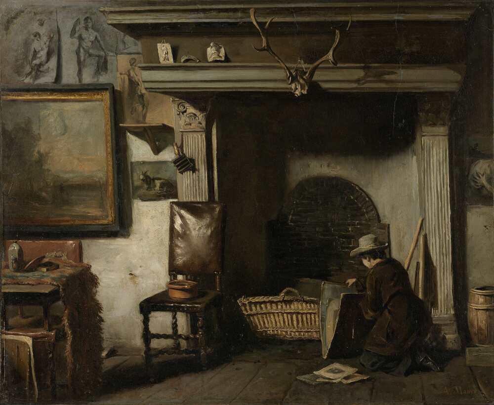 Anton Mauve, Atelier des Haarlemer Malers Pieter Frederik van Os, 1856-1857, Öl auf Papier, 49 × 61cm (Rijksmuseum, Amsterdam)