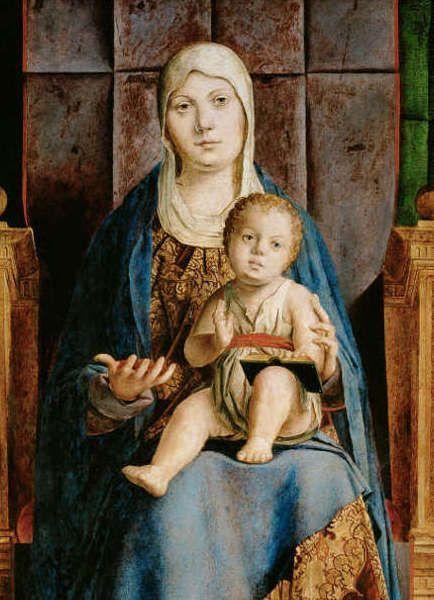 Antonello da Messina, Pala di Cassione, Madonna mit Kind, August 1475– Anfang April 1476, Öl/Holz, 115 cm x 133 cm (gesamt), 55,9 x 35 cm (linke Tafel), 56,8 x 35,6 cm (rechte Tafel) (Kunsthistorisches Museum, Wien)