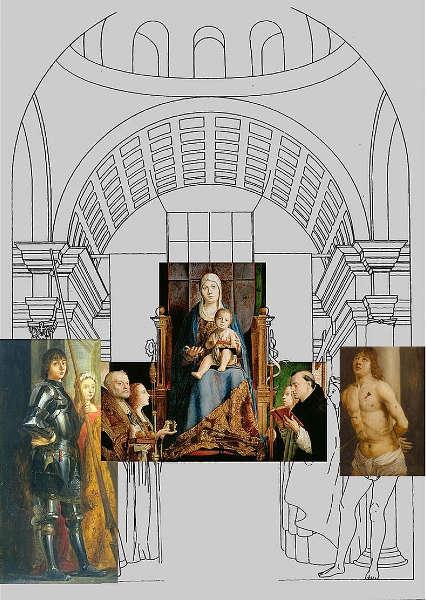 Antonello da Messina, Pala di San Cassiano Rekonstruktionsversuch mit den Fragmenten