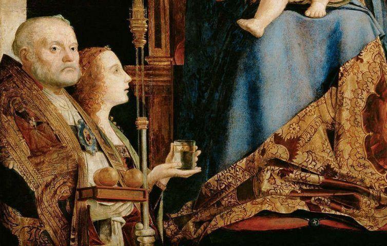Antonello da Messina, Sacra Conversazione, Hl. Nikolaus, August 1475– Anfang April 1476, Öl/Holz, 115 cm x 133 cm (gesamt), 55,9 x 35 cm (linke Tafel), 56,8 x 35,6 cm (rechte Tafel) (Kunsthistorisches Museum, Wien)