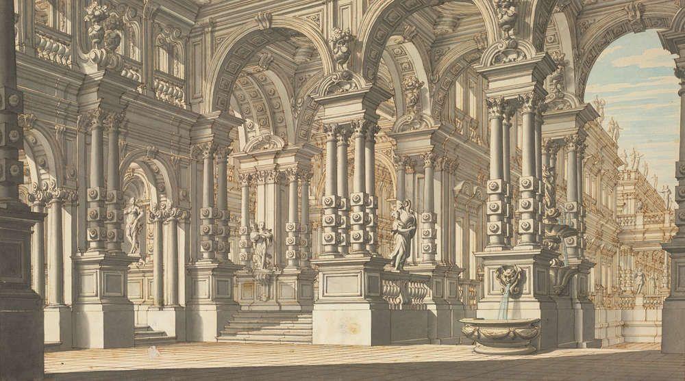 Antonio Galli Bibiena, Säulenhalle mit Durchblick in einen tiefer liegenden Hof; die tragenden Säulen werden aus vier einzeln stehenden, mit jeweils drei Rosetten beschlagenen korinthischen Säulen gebildet; am rechten Säulensockel ein Brunnen, 1740/1745 (Albertina, Wien)