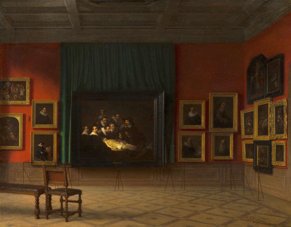 Antoon François Heijligers, Einblick in den Rembrandt Raum im Mauritshuis im Jahr 1884, 1884 (Mauritshuis, Den Haag)