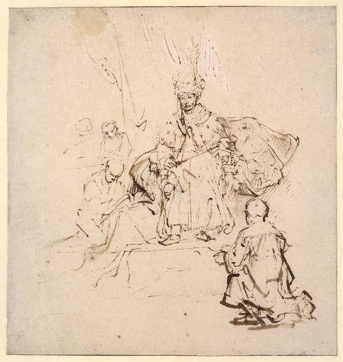 Arent De Gelder, Joseph vor Pharao, um 1661–1665, Feder in Braun, stellenweise gewischt, Deckweiß, auf Papier (© Staatliche Museen zu Berlin, Kupferstichkabinett / Jörg P. Anders)