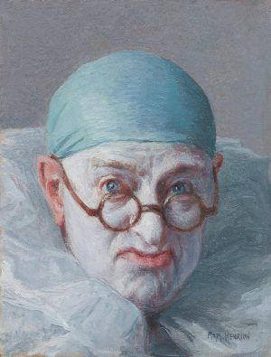 Armand François Joseph Henrion, Selbstporträt als Pierrot, undatiert, Öl auf Holz 18 × 14 cm (Sammlung Klewan)