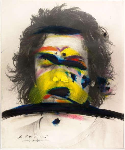 Arnulf Rainer, Face Farces: Farbstreifen, 1972, Mischtechnik auf Fotografie (Albertina, Wien © Arnulf Rainer)