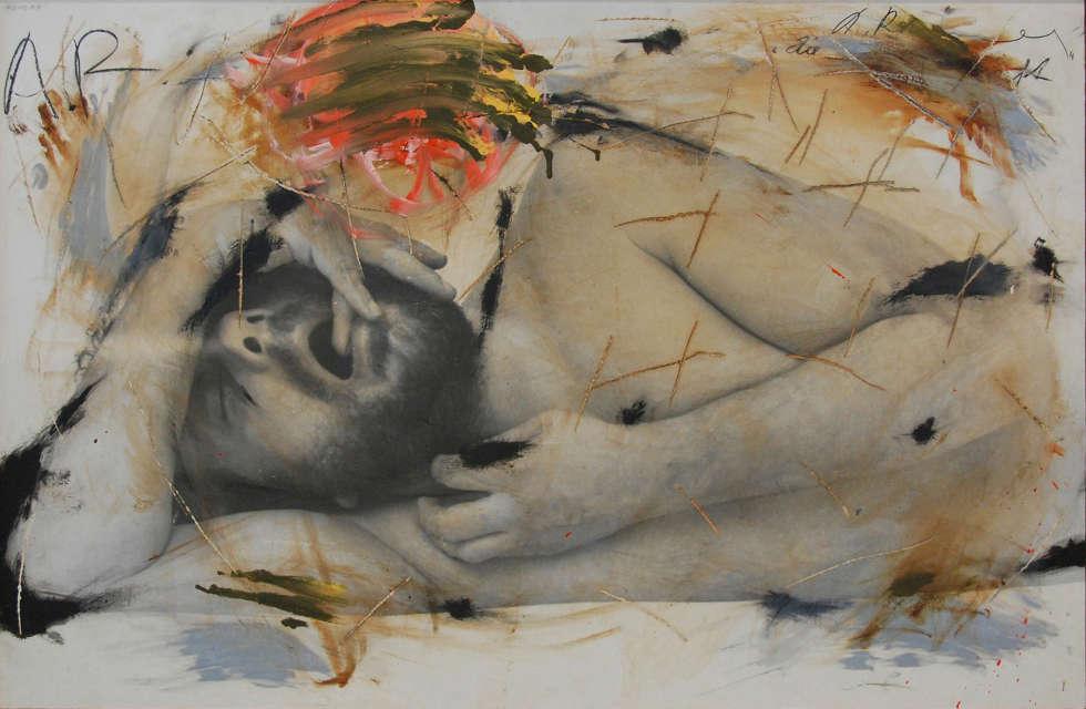 Arnulf Rainer, Schlaf, 1973/74, Öl auf Fotografie auf Holz (Albertina, Wien © Arnulf Rainer)