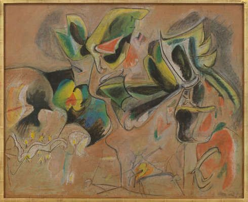 Arshile Gorky, Apple Orchard, um 1943–1946, Pastell/Papier, 106.7 x 132.1 cm (Collection Agnes Gund, Foto Genevieve Hanson)