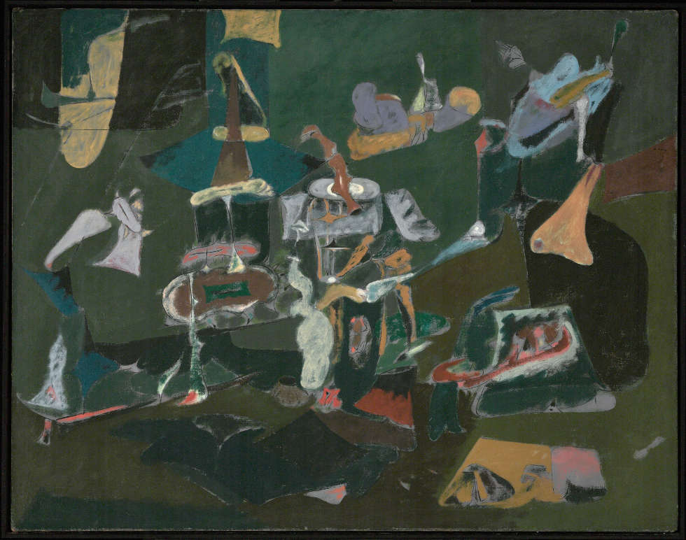 Arshile Gorky, Dark Green Painting, um 1948, Öl/Lw, 111.1 x 141 cm (Philadelphia Museum of Art, Gift (by exchange) of Mr. and Mrs. Rodolphe Meyer de Schauensee and R. Sturgis and Marion B. F. Ingersoll, 1995, 1995-54-1)
