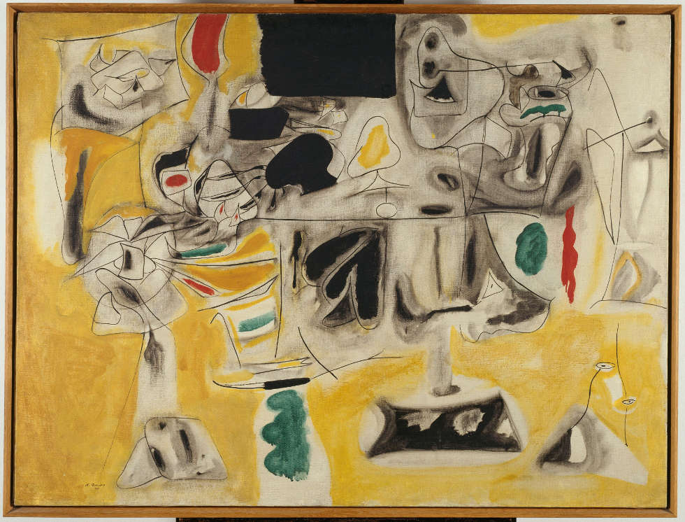 Arshile Gorky, Landscape-Table, 1945, Öl/Lw, 92 x 121 cm (Centre Pompidou, Musée national d'art moderne / Centre de création industrielle, Paris, Purchased 1971, AM 1971-151, Foto Philippe Migeat © Centre Pompidou, MNAM-CCI, Dist. RMN-Grand Palais)