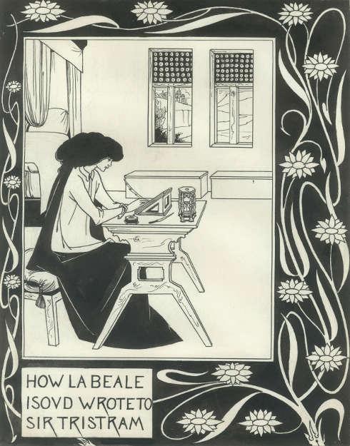 Aubrey Beardsley, How la Beale Isoud Wrote to Sir Tristram, um 1893, Tusche/Papier, 27,6 x 21,5 cm (Alessandra and Simon Wilson)