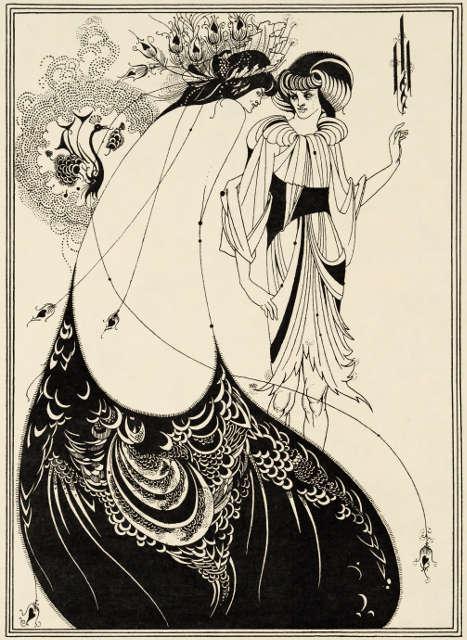 Aubrey Beardsley, The Peacock Skirt, Illustration in Oscar Wildes Salome, 1893, Liniendruck auf Papier (Stephen Calloway Photo: © Tate)
