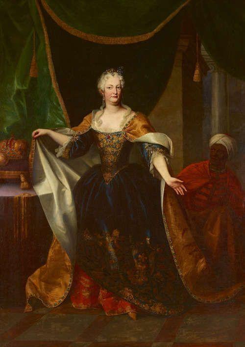 Johann Gottfried Auerbach, Elisabeth Christine von Braunschweig-Wolfenbüttel, um 1730, Öl auf Leinwand, 262 x 188 cm © Belvedere, Wien