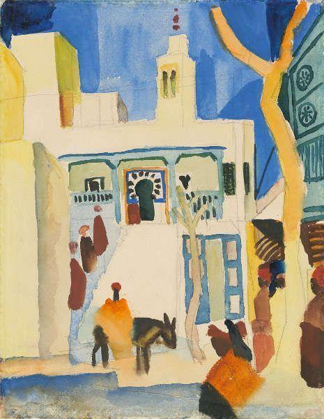 August Macke, Blick auf eine Moschee, 1914 Kunstmuseum Bonn Dauerleihgabe aus Privatbesitz. Foto: Kunstmuseum Bonn