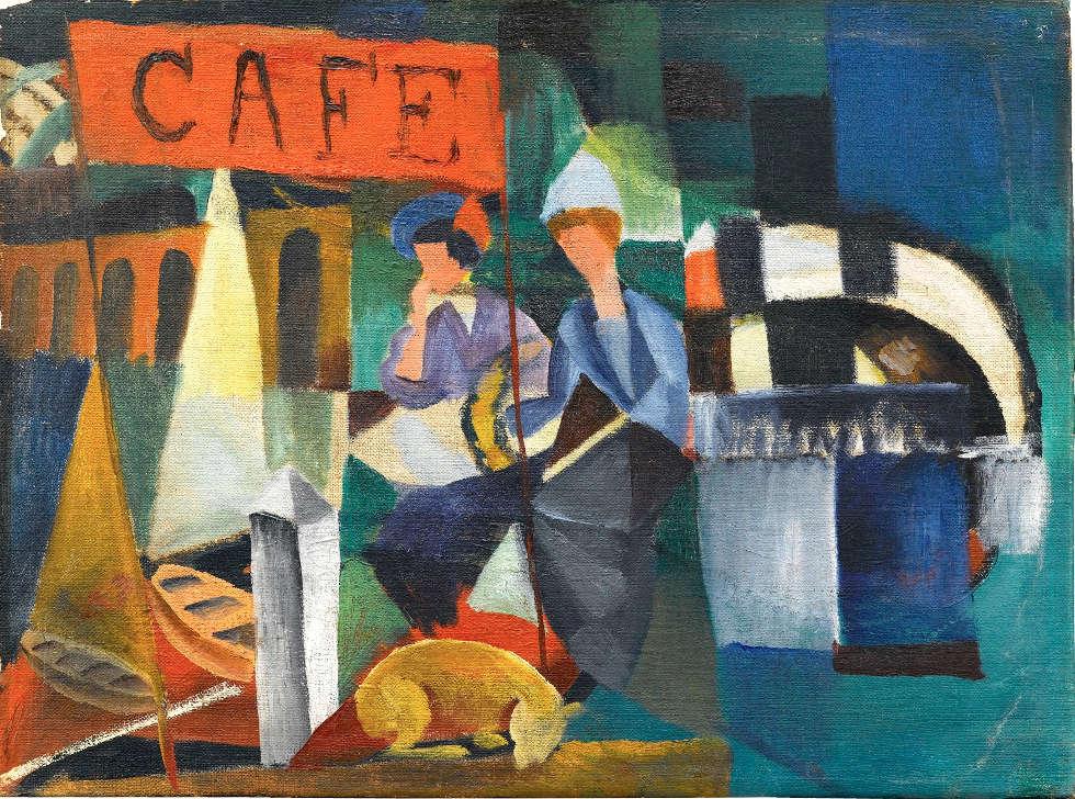 August Macke, Café am See, 1913 (Franz Marc Museum, Kochel a. See, Dauerleihgabe aus Privatbesitz)