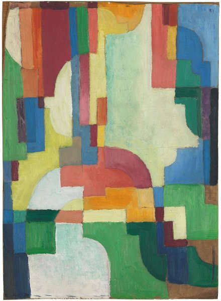 August Macke, Farbige Formen I, 1913, Öl/Pappe, 53,1 x 38,5 cm (LWL-Museum, Münster, Inv.-Nr. 1610 LM, Foto: LWL/Sabine Ahlbrand-Dornseif)