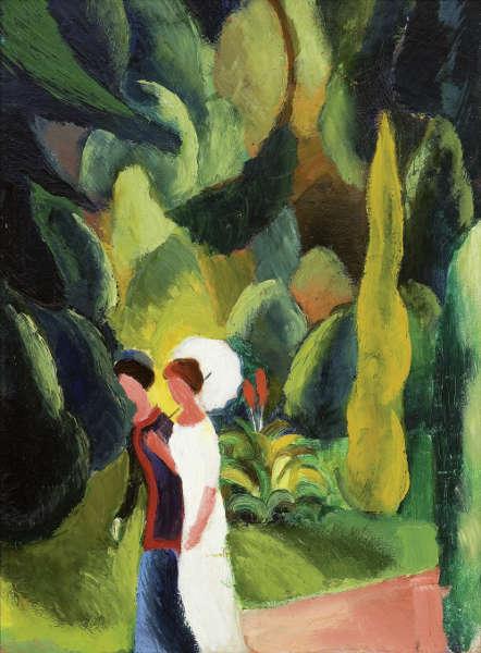 August Macke, Frauen im Park (mit weißem Schirm), 1913 (© Stiftung Renate und Friedrich Johenning Foto Linda Inconi–Jansen)