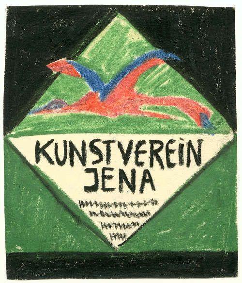 August Macke, Plakatentwurf für den Jenaer Kunstverein, um 1912, Farbige Kreiden auf Papier, 9 x 7,6 cm (Schenkung Dr. Lucius Grisebach Kunstsammlung Jena, Inv. Nr. © Foto: Kunstsammlung Jena)
