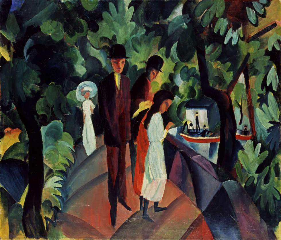 August Macke, Spaziergang auf Brücke (groß), 1912, Öl/Lw, 86 x 100 cm (Hessisches Landesmuseum Darmstadt, Foto: Wolfgang Fuhrmannek)