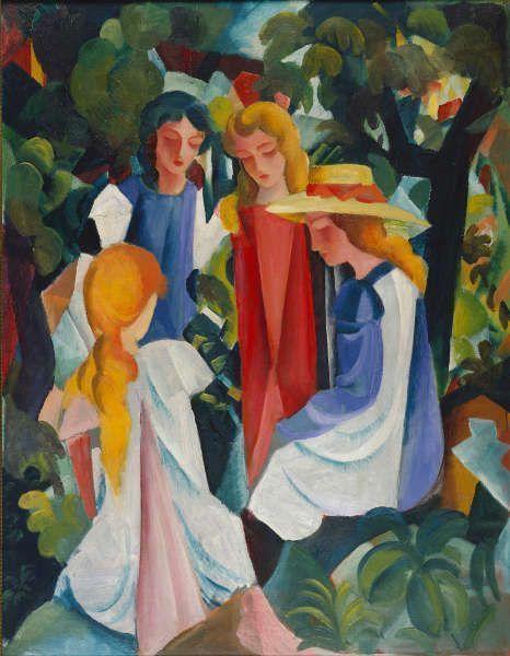 August Macke, Vier Mädchen, 1913, Öl auf Leinwand, 105 × 81 cm (Kunstpalast, Düsseldorf, Foto: Kunstpalast - Horst Kolberg – ARTOTHEK)