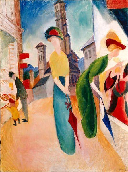 August Macke, Zwei Frauen vor dem Hutladen, 1913, Öl auf Leinwand, 56,2 x 42 cm (Courtesy Heidi Horten Collection)