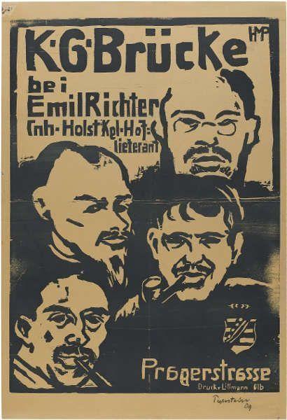 Ausstellungsplakat K.G. Brücke, Dresden, Emil Richter, 1909 (mit Porträts von Heckel, Schmidt-Rottluff, Pechstein und Kirchner), Holzschnitt auf verbräuntem Papier (Staatsgalerie Stuttgart, Graphische Sammlung)
