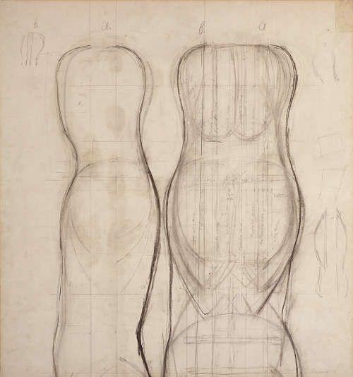 Joannis Avramidis, Konstruktionszeichnung, 1962, Kohle, Grafitstift auf Papier, 79,9 × 74,6 cm (Foto: Manfred Thumberger)