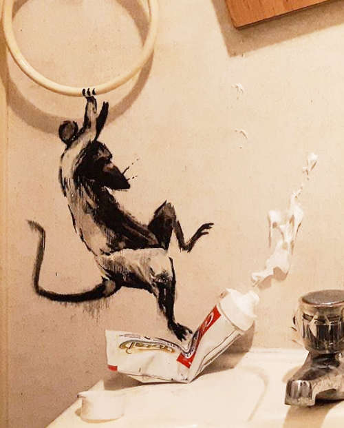 Banksy, My wife hates it when I work from home, Detail (Zahnpasta), 2020 (c) Banksy, Instagram