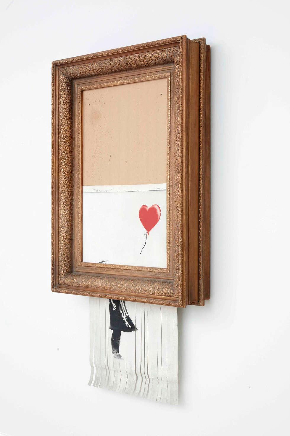 Banksy, Love Is in the Bin, 2018, Sprayfarbe und Acryl auf Leinwand, 142 x 78 x 18 cm, Privatsammlung, Foto: Sotheby's, © Banksy
