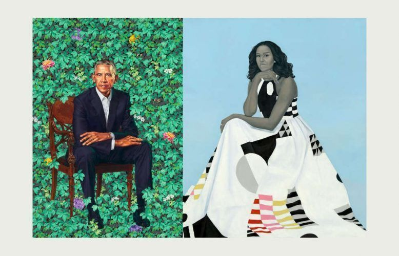 Kehinde Wiley, Barack Obama & Amy Sherald, Michelle LaVaughn Robinson Obama, 2018 (National Portrait Gallery, Smithsonian Institution)