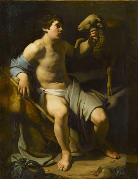 Bartolomeo Manfredi, Hl. Johannes der Täufer mit einem Schaf, Öl/Lw, 148 x 114 cm (Musée du Louvre, Paris © RMN-Grand Palais (musée du Louvre) / René-Gabriel Ojéda)