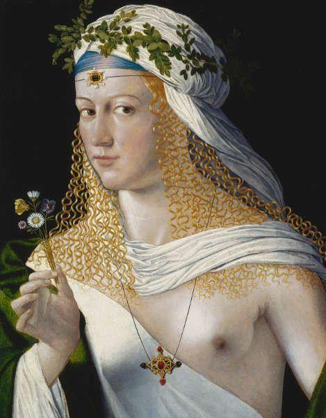 Bartolomeo Veneto, Idealbildnis einer jungen Frau als Flora, um 1520 (?), Öl auf Pappelholz, 43,6 x 34,6 cm (Städel Museum Frankfurt a.M. © Städel Museum – ARTOTHEK)