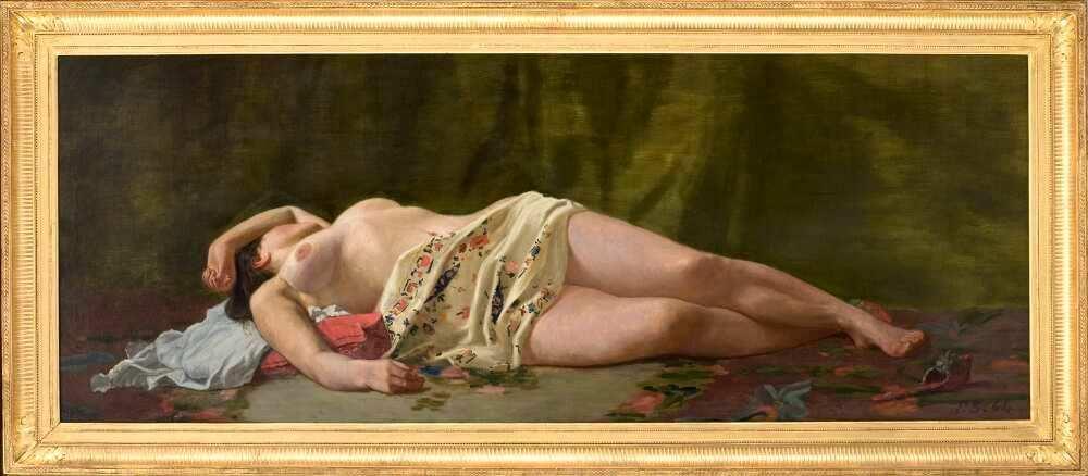Frédéric Bazille, Aktstudie, 1864, Öl auf Leinwand, 70 x 190,5 cm (Musée Fabre, Montpellier Méditerranée Métropole, don Marc Bazille, 1918 Montpellier, Musée Fabre, Montpellier Méditerranée Métropole © Cliché Frédéric Jaulmes)
