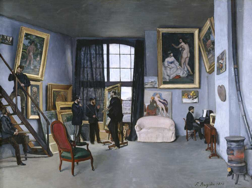 Frédéric Bazille, Das Atelier in der Rue La Condamine, 1869/70, Öl auf Leinwand, 98 x 127 cm (Paris, Musée d'Orsay, legs de Marc Bazille, 1924 © Photo musée d'Orsay, Dist. RMN-Grand Palais / Patrice Schmidt)