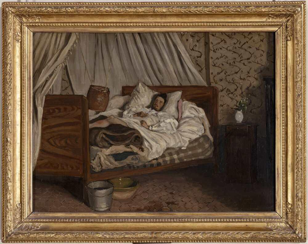 Frédéric Bazille, Die improvisierte Ambulanz (Der verletzte Monet im Hôtel du Lion d'Or in Chailly-en-Bière), 1865, Öl auf Leinwand, 48 x 65 cm (Paris, Musée d'Orsay © Photo RMN-Grand Palais (musée d'Orsay) / Hervé Lewandowski)