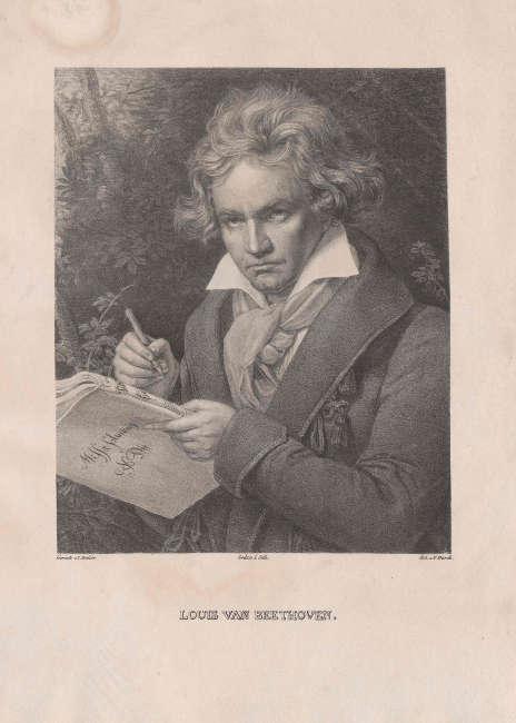Beethoven an der Missa solemnis schreibend. Lithografie von Josef Kriehuber nach einem Gemälde von Josef Karl Stieler. © Österreichische Nationalbibliothek