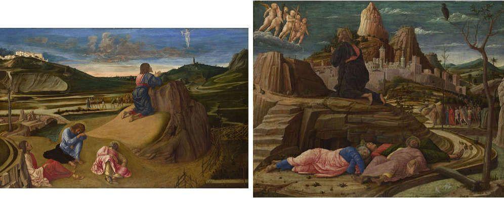Bellini und Mantegna, Christus im Garten Gethsemane