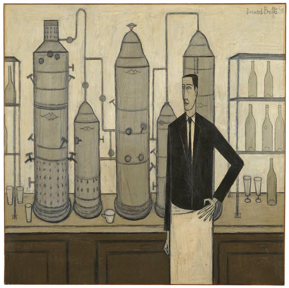 Bernard Buffet, Le bar du Liberty's, 1950, Öl auf Leinwand, 160 × 160 cm (Sammlung Klewan)