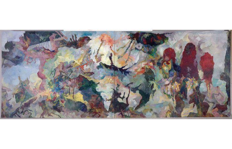 Bernard Schultze, Mich bedrängend, 1991, Öl auf Leinwand, 220 x 520 cm (© Museum Ludwig)