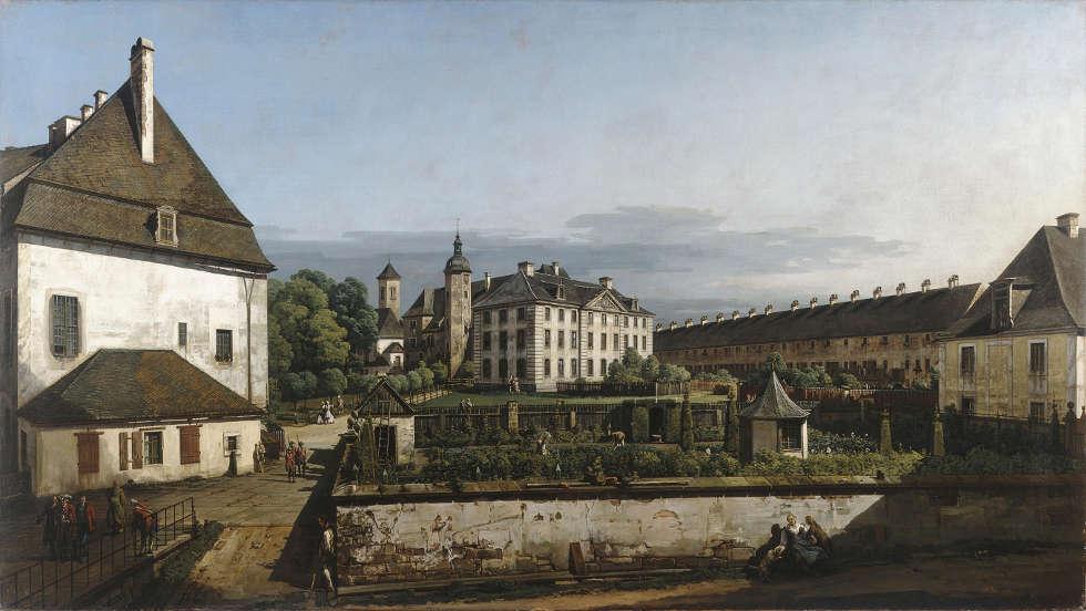 Bernardo Bellotto, Festung Königstein: Hof mit Brunnenhaus, 1756–1758, Öl/Lw, 133.9 × 238 cm (Manchester Art Gallery © Manchester Art Gallery, UK / Bridgeman Images)