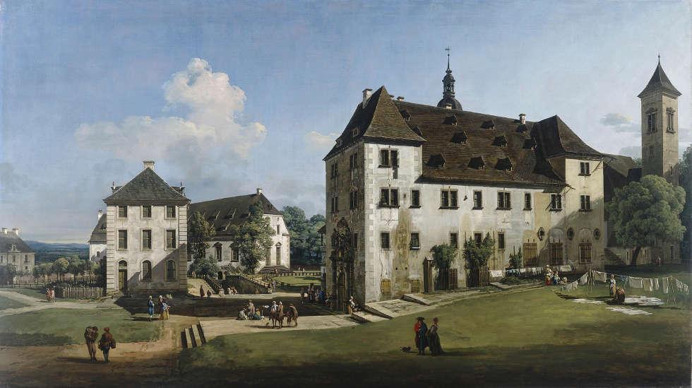 Bernardo Bellotto, Festung Königstein Hof mit Brunnenhaus, 1756–1758, ÖlLw, 133.9 × 238 cm (Manchester Art Gallery © Manchester Art Gallery, UK Bridgeman I