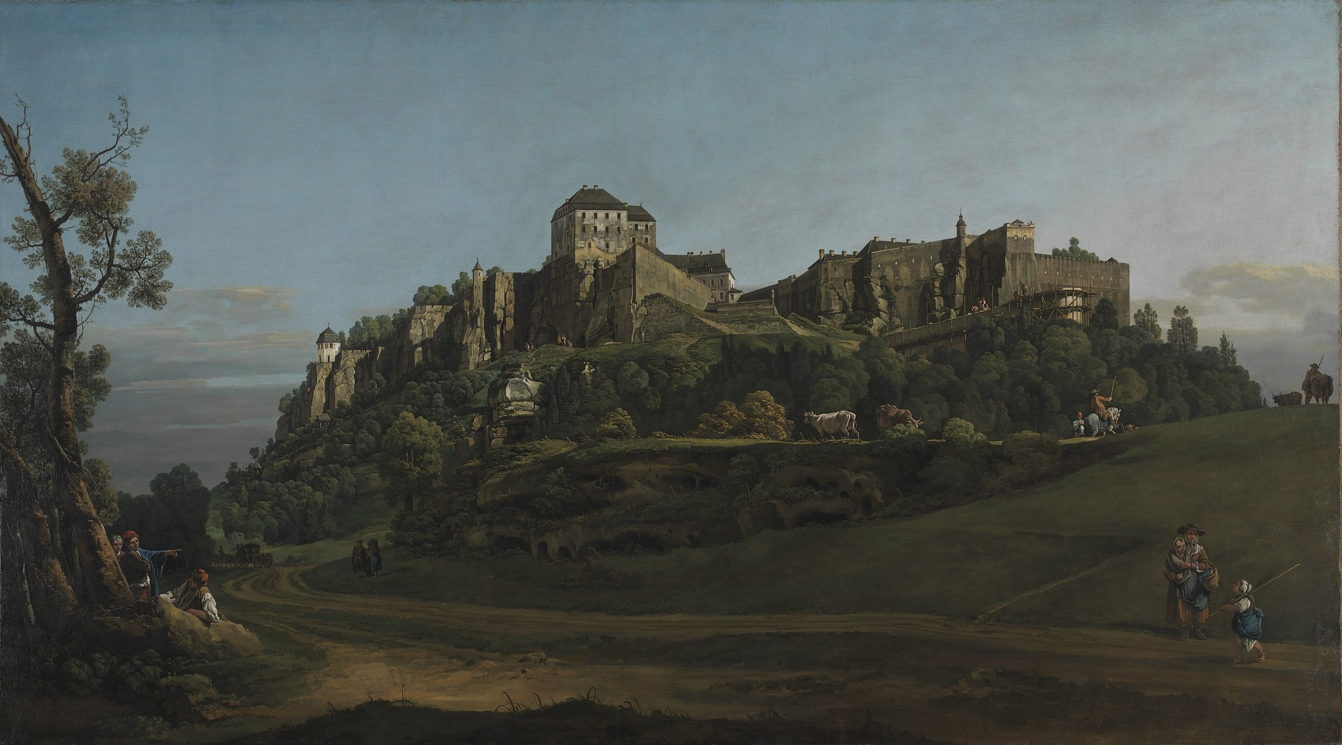Bernardo Bellotto, Festung Königstein vom Norden, 1756-1758, Öl/Lw, 132.1 × 236.2 cm (© The National Gallery, London, Bought with the support of the American Friends of the National Gallery, The National Gallery Trust, the Estate of Mrs Madeline Swallow, Art Fund (with a contribution from The Wolfson Foundation), Howard and Roberta Ahmanson, The Deborah Loeb Brice Foundation, Mrs Mollie W. Vickers, The Manny and Brigitta Davidson Charitable Foundation, The Sackler Trust and through private appeal, 2017)