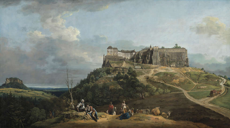 Bernardo Bellotto, Festung Königstein von Nord-West, 1756–1758, Öl/Lw, 133 × 235.7 cm (National Gallery of Art, Washington, Courtesy National Gallery of Art, Washington)