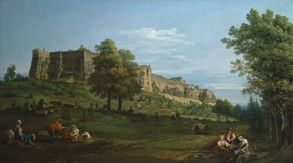Bernardo Bellotto, Festung Königstein von Süd-West, 1756–1758, Öl/Lw, 133.9 x 238 cm (The Earl of Derby, Knowsley Hall, Reproduced courtesy of the Rt Hon. The Earl of Derby / Photo: © Christie's Images Limited)