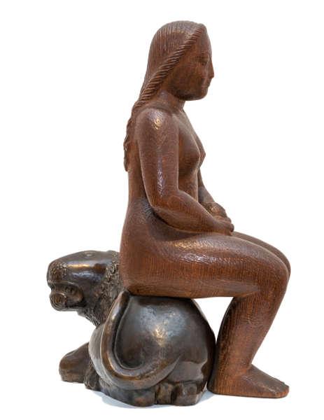 Bernhard Hoetger, Eva auf dem Löwen, 1907, Eichenholz und Bronze (Museen Böttcherstraße, Sammlung Bernhard Hoetger)
