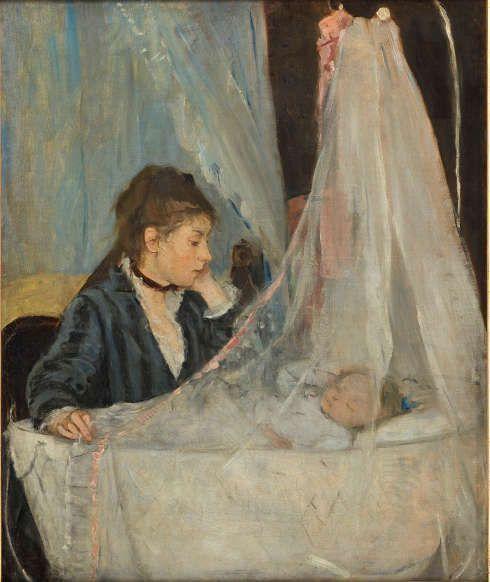Berthe Morisot, Die Krippe, 1872, Öl/Lw, 56 x 46 cm (Musée d'Orsay, erworben vom Louvre (1930) RF2849)