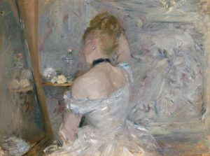 Berthe Morisot, Femme à sa toilette [Frau bei der Toilette], um 1875, Öl auf Leinwand, 60.3 x 80.4 cm (The Art Institute of Chicago, Stickney Fund, 1924.127)