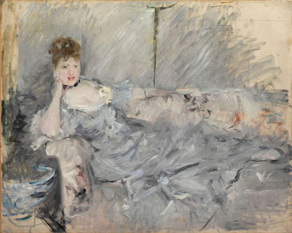 Berthe Morisot, Frau in Grau liegend, 1879, Öl/Lw, 60 x 73 cm (Privatsammlung, Paris)