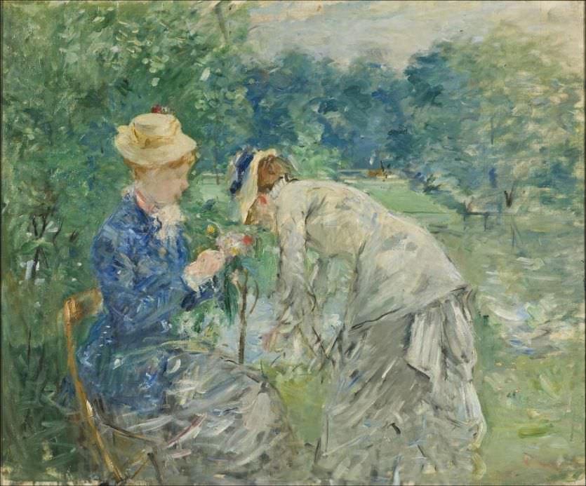 Berthe Morisot, Au jardin [Im Bois de Boulogne], vor 1880, Öl auf Leinwand, 61 x 73,5 cm (Nationalmuseum Stockholm)