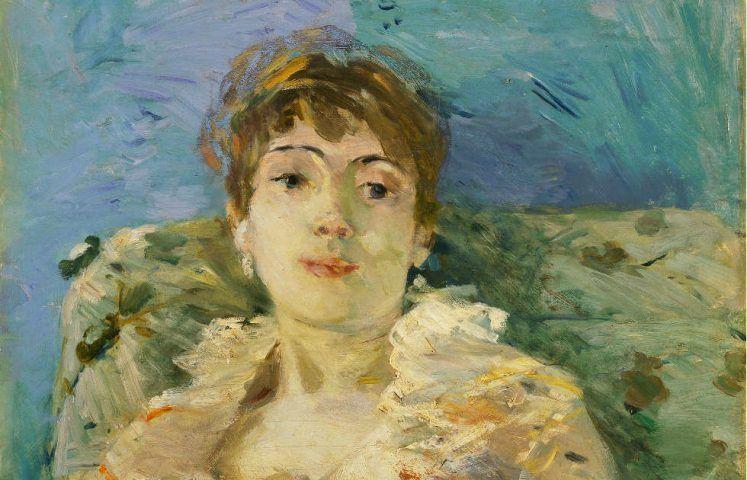 Berthe Morisot, Junge Frau auf dem Sofa [Jeune Femme au Divan], Detail, 1885, Öl/Lw, 61 x 50.2 cm (Tate, London; Bequeathed by the Hon. Mrs A.E. Pleydell-Bouverie through the Friends of the Tate Gallery 1968, Photo ©Tate)